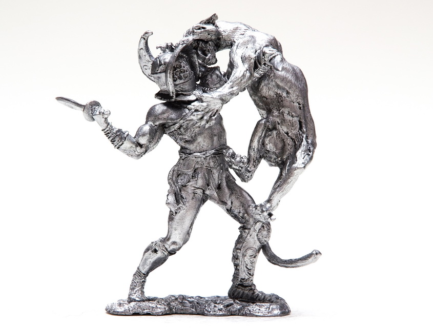 tin 75mm Gladiator. DUEL OF BEAST. Head #2