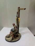 tin 54mm metal castings. Armor-Bearer and dog. PAINTED FIGURE